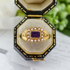 Amethyst and Pearl Gold on Silver Cluster Ring Antique Georgian Style