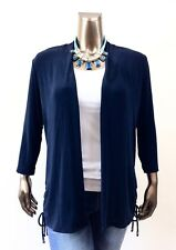 CHICO'S $109 NEW TRAVELERS DARK BLUE RUCHED SIDE TIE JACKET SIZE 3 ( XL )