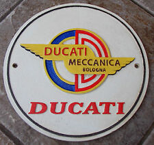 SUPERB HEAVY 5 COLOUR CAST IRON ADVERTISING SIGN DUCATI MECCANICA BOLOGNA