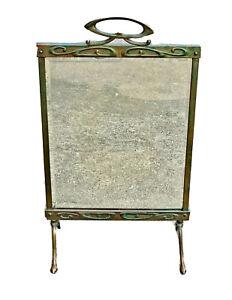Antique Art Nouveau Victorian Copper Fireplace Screen Display Mirror Glass Deco