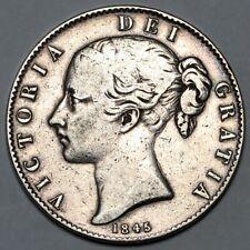 1845 QUEEN VICTORIA GREAT BRITAIN SILVER CROWN COIN