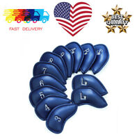 Iron Head Cover Set 12 Pcs Blue Golf Clubs Headcovers PU Leather Protective