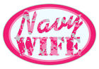 Oval Car Magnet - Navy Wife (Hot Pink Design) - Support Military - Digital Camo