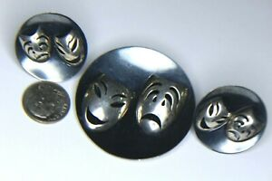 """SIGNED"""" BGM""""OXIDIZED 925 TRAGEDY/COMEDY SCREW BACK EARRINGS& PEND/PIN,19.7 GRAMS"""