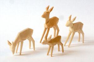Rehe geschnitzt, geschnitzte Rehgruppe 5cm, natur, Reh, Krippe, Krippenfiguren