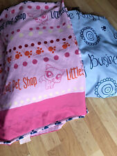 Littlest Pet Shop Full Size Bed Flat and Fitted Sheet Set Pink Blue VGUC