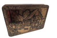 "Vintage Patria Biscuit Tin From Holland Ornate Embossed Raised Pub Scene 13""L"