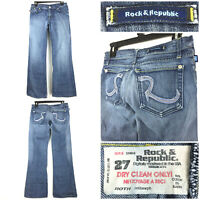 Rock Republic Womens Sz 27 (29 in Waist) 'Roth' Rhinestone Boot Cut Jeans, USA