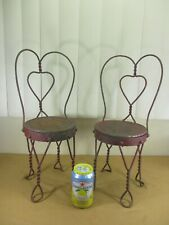 """Vintage Twisted Wrought Iron Heart Ice Cream Parlor Chairs Dolls & Bears 17.5"""" H"""
