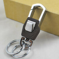 1pc Luxury Men Stainless Steel Keyring Keychain Keyfob Belt Key Holder Dual Ring