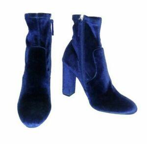 Steve Madden EDITT Women's 10 Blue Velvet Stretch Pull On Zip Up Ankle Boots