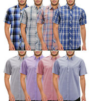 Men's Cotton Short Sleeve Collared Button Up Casual Classic Plaid Dress Shirt