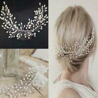 Women Pearl Tiara Bridal Hair Comb Wedding Headwear Hair Accessories I4Q7