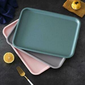 1* Rectangular Plastic Rattan Home Dinner Lap Serving Tray Coffee New Tea F4Q1