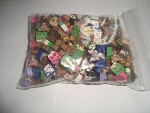100 MIXED FIMO BEADS  FRUIT  AND ANIMAL FACES  THIS IS A  CLEARANCE LINE
