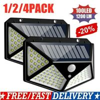 100 LED Solar Power Light PIR Motion Sensor Security Outdoor Garden Wall Lamp TA