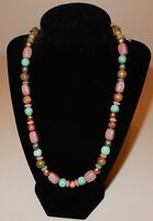 CAROLYN POLLACK STERLING SILVER PINK RHODONITE TURQUOISE BEADED NECKLACE
