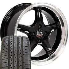 17x8 Black Wheels Amp 24545zr17 Tire Set4 Fits Ford Mustang 4 Lug Cobra R Rims