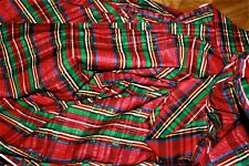 BTHY Estate Vintage POLISHED COTTON Red + Green Large PLAID Fabric 18x44