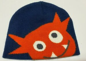 Boys Beanie Winter Hat Cap One Size Fits Most Navy with orange monster