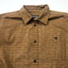 Mountain Hardwear Medium Mens Button Front Long Short Sleeve Casual Shirt Brown