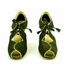Rare Vintage 1930s 1940s Ankle Tie Open Toe Fabric Pumps Shoes