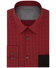 Calvin Klein Mens Dress Shirt Red Medium M 15-15 1/2 Gingham X Slim $79 #294