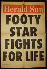 1996 AFL Herald Sun Footy Star Fights For Life Newspaper Football  poster Barker