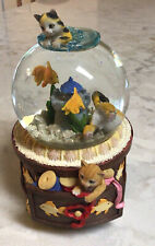 San Francisco Music Box Company Kitty with Goldfish Bowl Snow Globe~Needs Repair