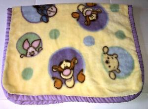 Vintage Winnie The Pooh Fleece Blanket Yellow Purple Trim Disney Tigger Eeyore