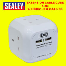 Sealey White Extension Lead Cube 4x 240v 3 Pin Socket + 2x USB Wall/Table Mount
