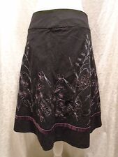 AXCESS by Liz Claiborne A-Line Women's Size 4 Black Embroidered Floral Skirt <B>