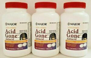 Major Acid Gone Antacid Chewable Tablets 100ct (Generic Gaviscon) -3 Pack
