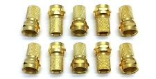 10 pk Gold Plated F-Type Male Twist On Connectors for RG6 Coaxial Coax TV Cable