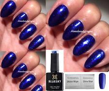 BLUESKY GEL POLISH BLUE FINE GLITTER CRYSTAL ROYAL SJ15 NAIL UV LED SOAK OFF