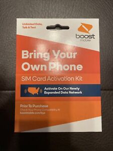"""BOOST MOBILE SIM Card ACTIVATION KIT """"BRING YOUR OWN PHONE"""" 5G/4G LTE NEW"""