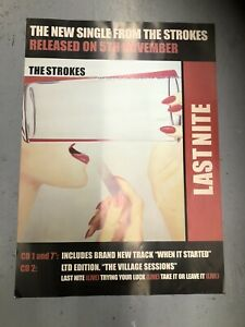 THE STROKES - ORIGINAL PROMOTIONAL RECORD SHOP POSTER - LAST NITE (LARGE A1 SI