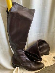 Leg High Genuine Leather Riding Boots Dark Brown