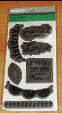 RUBBER CLING TPC STAMPS DECOR SENTIMENTS ~ PENNANTS,LACE,BORDERS wks CTMH blk