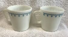 2 PYREX coffee Mugs SNOWFLAKE BLUE garland on white USA vintage cups EUC lot