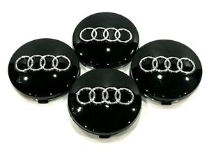 4 Pcs, Audi, Black, Chrome Logo Center, Wheel Hub Cap, 60mm, A3, A4, A6, A8, S4