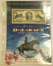 US $2 Delaware Genuine Colorized Bill - Two Dollar Bill Series - Authentic UNC