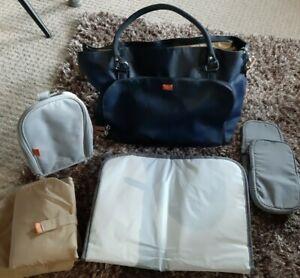 Pacapod Mirano Navy Blue Designer baby Changing Bag & Grey Pacapod