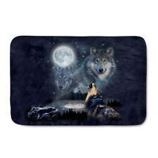 Wolf Print Door Mat Absorbent Soft Kitchen Floor Area Rug Non-slip Carpet Cool