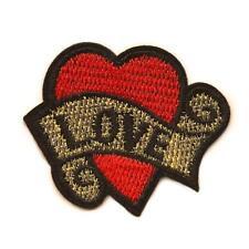 "TATTOO LOVE HEART IRON ON PATCH 1.8"" Biker Punk Rockabilly Embroidered Applique"