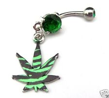 Zebra Stripe Pot Leaf Belly Ring Navel Bar Green Gem Surgical Steel Body Jewelry