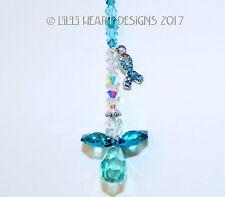 m/w Swarovski Rare Teal Awareness Ribbon Angel SunCatcher Lilli Heart Designs  00006000