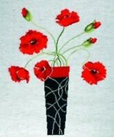 Poppies In Vase (Vase of Red Poppies) Counted Cross Stitch Kit Design Works