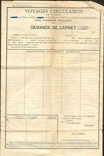 CHEMINS DE FER D' ORLEANS FORMULAIRE DEMANDE DE CARNET DE VOYAGE 1914