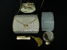 LOVELY JUDITH LEIBER CRYSTAL MINAUDIERE HANDBAG, COMB, MIRROR, COIN PURSE & BAG